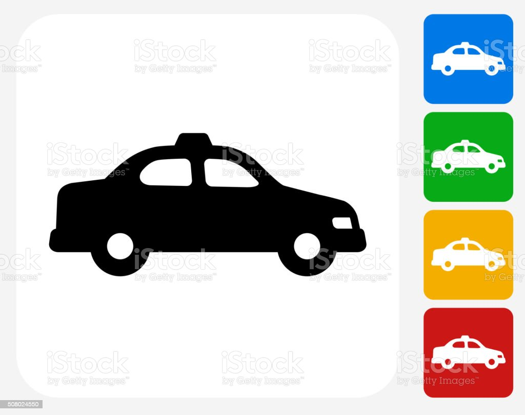 Taxi Cab Icon Flat Graphic Design vector art illustration