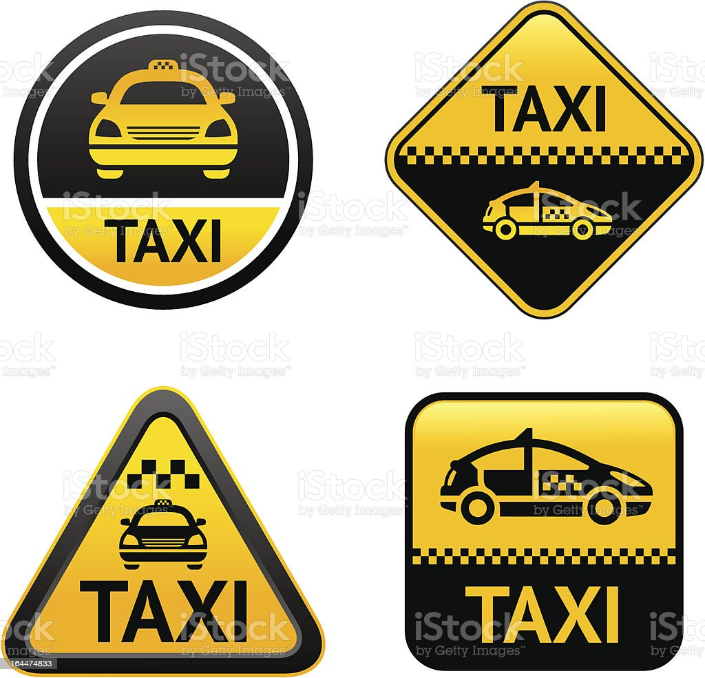 Taxi cab set buttons vector art illustration