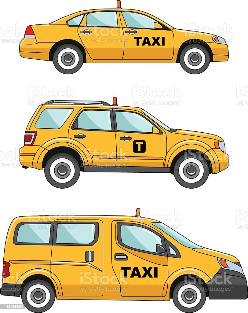 Taxi car on a white background in a flat style vector art illustration