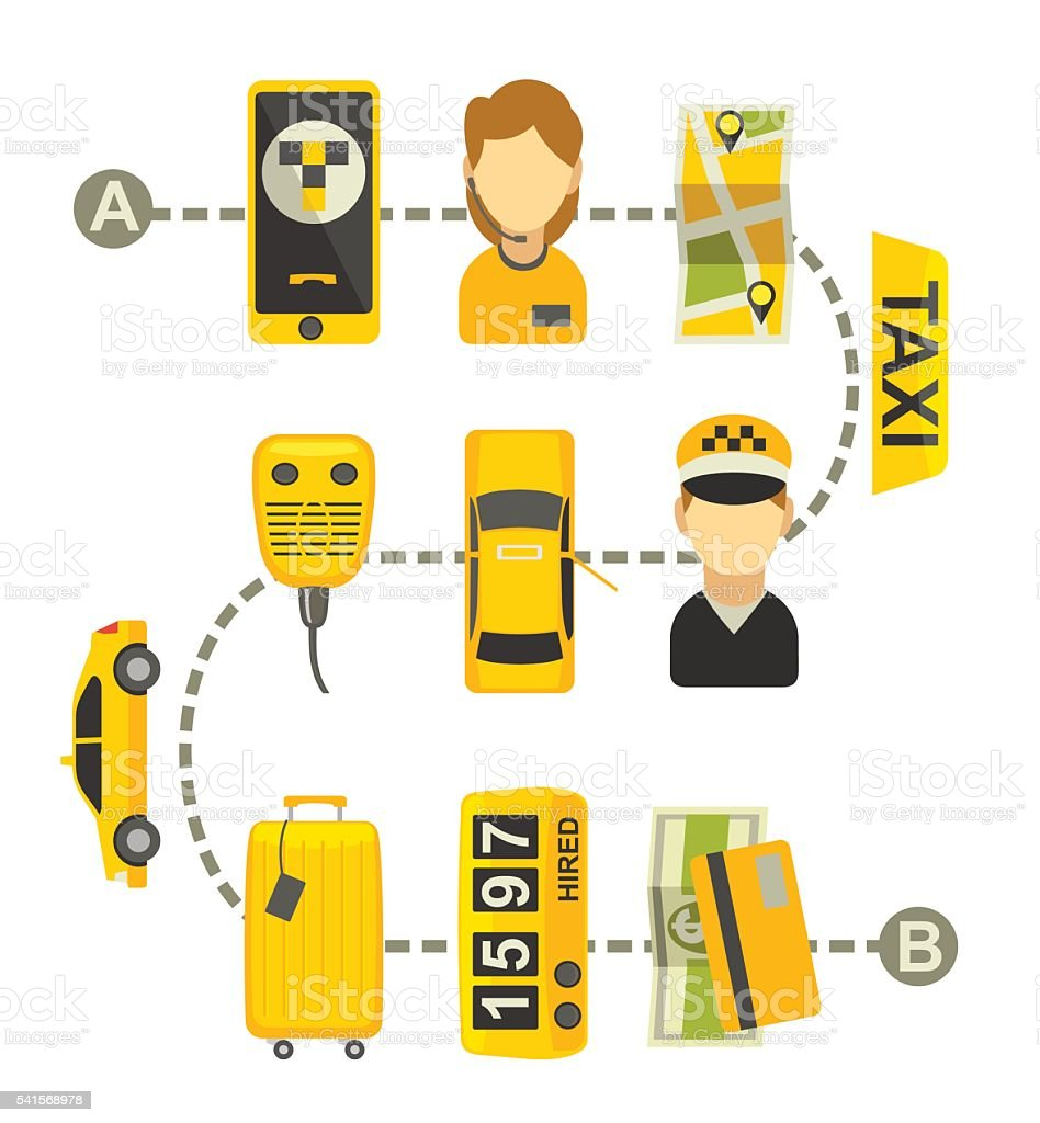 Taxi drive service. Isolated vector flat illustration for business, infographic vector art illustration