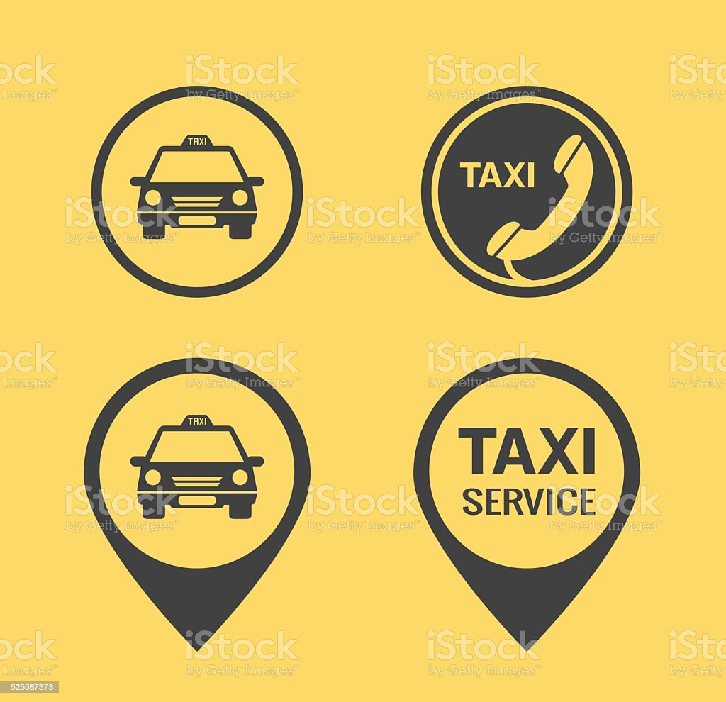 Taxi icons and Pointers vector art illustration