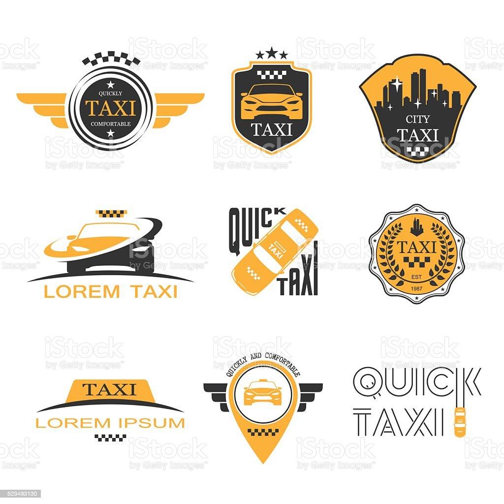 Taxi labels set vector art illustration