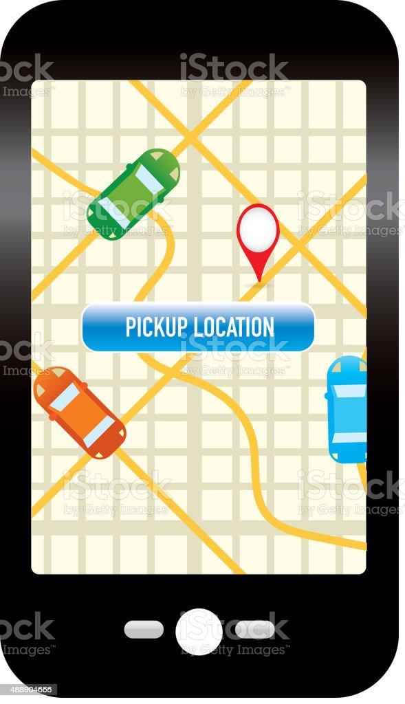 Taxi, private car, rideshare mobile phone app icon design vector art illustration