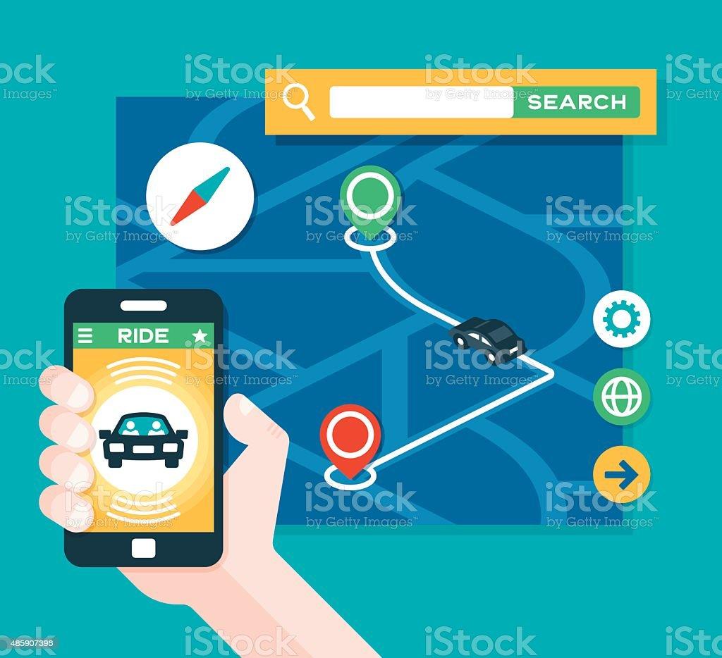Taxi Ride Share Transportation App vector art illustration