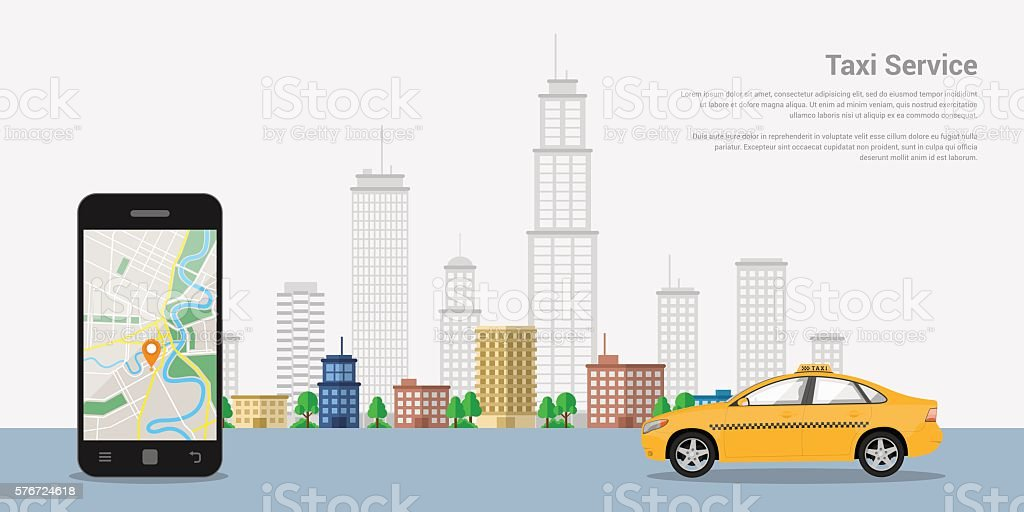 taxi service concept vector art illustration