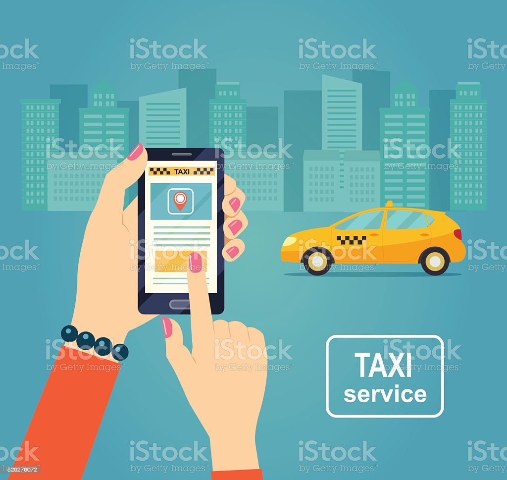 Taxi service. Smartphone and touchscreen. Vector flat illustration. vector art illustration