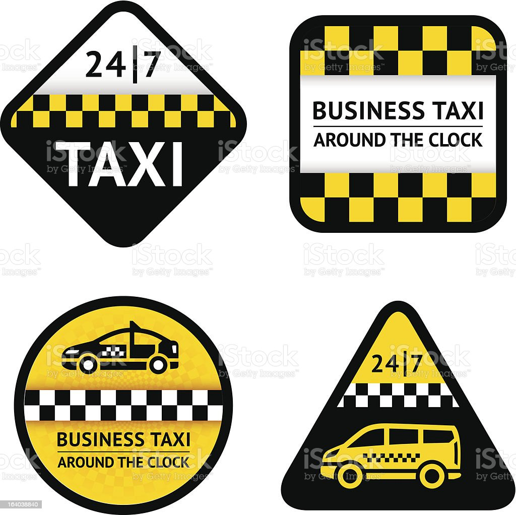 Taxi - set four labels royalty-free stock vector art