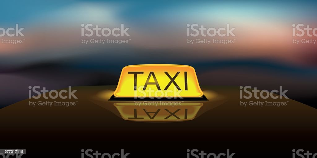 Taxi Sign vector art illustration