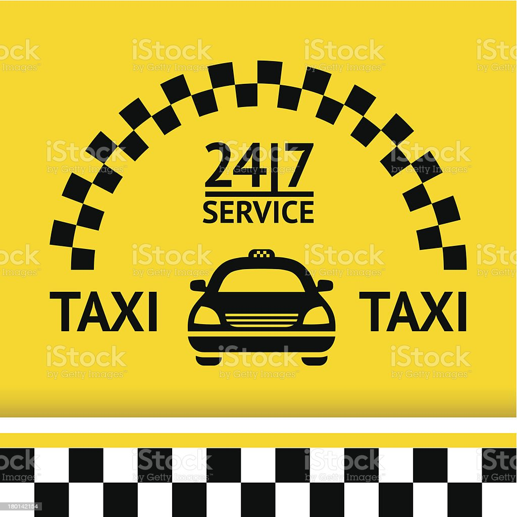 Taxi symbol, and car on the background vector art illustration