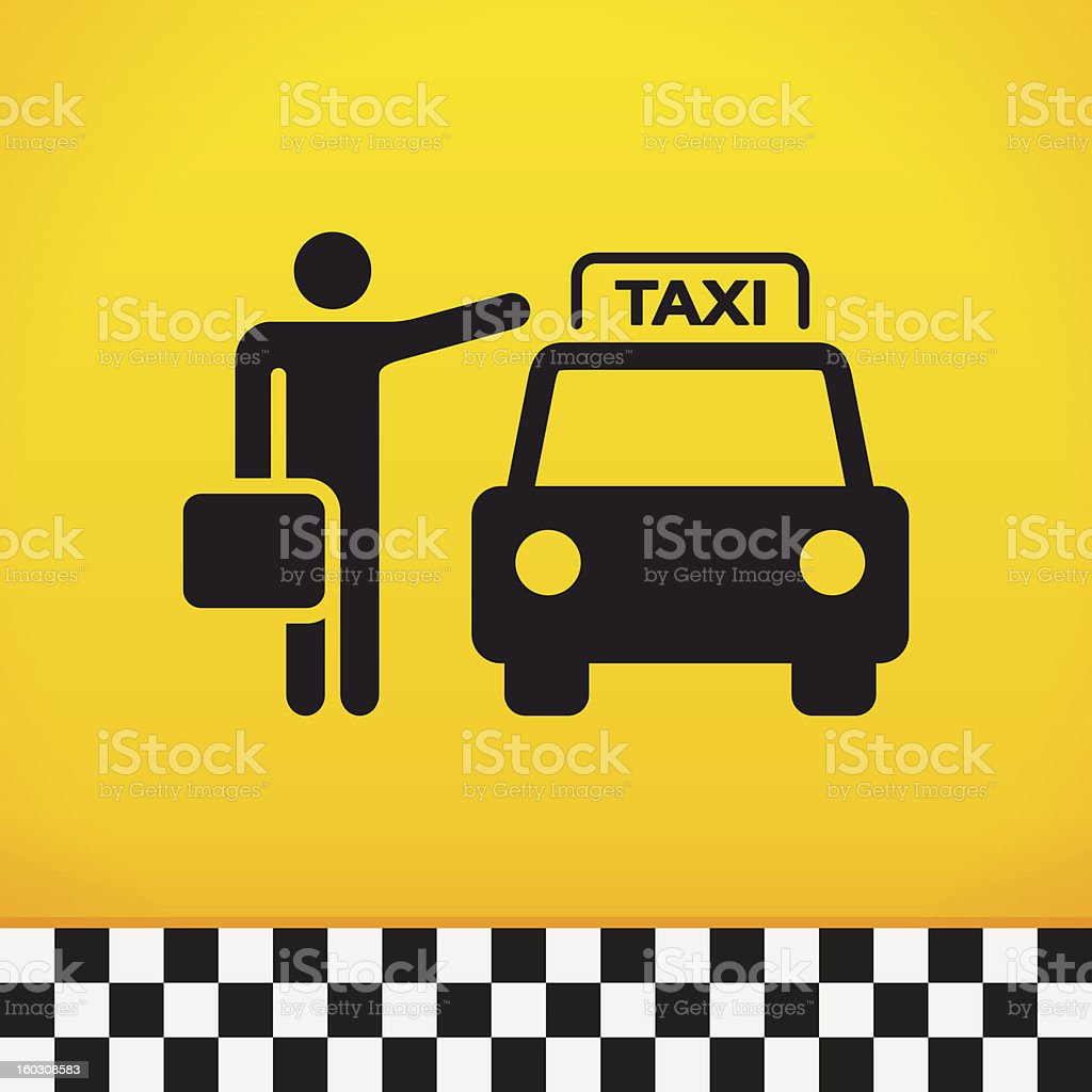 Taxi Theme with Passenger vector art illustration