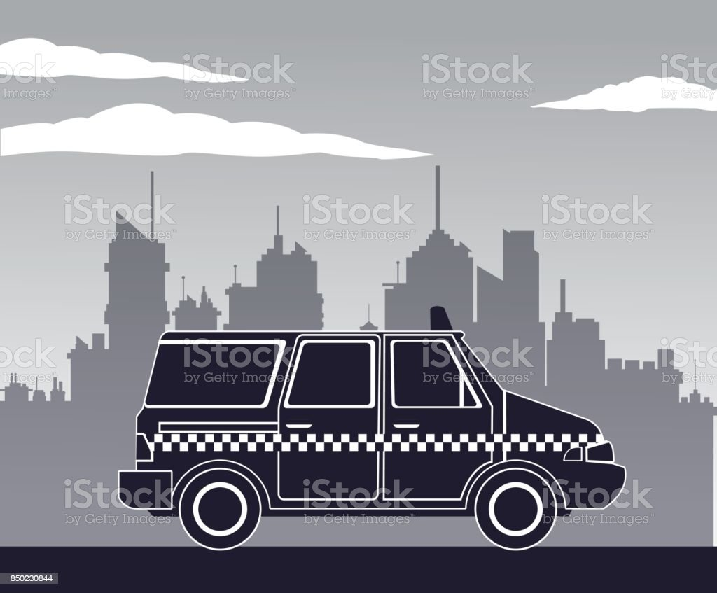 taxi van car side view town background vector art illustration
