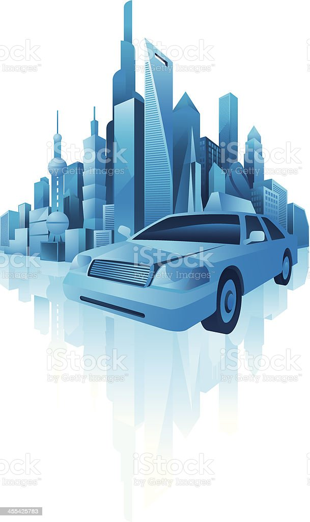 taxi with city background royalty-free stock vector art