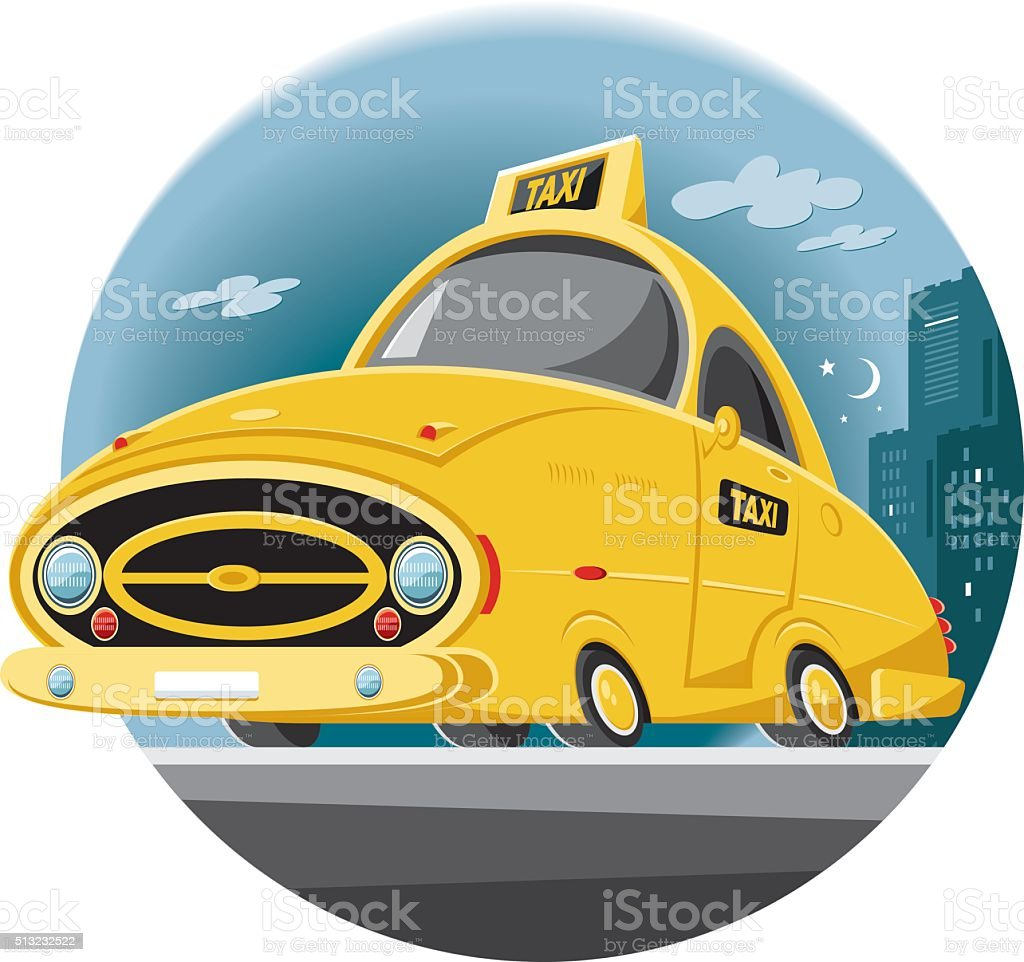 taxi working all night vector art illustration