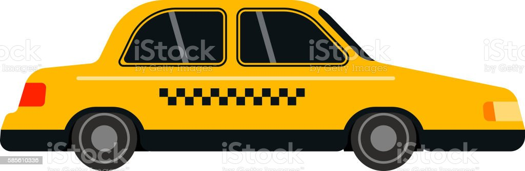 Taxi yellow car style vector vector art illustration