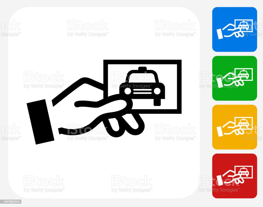 Taxicab Card Icon Flat Graphic Design vector art illustration