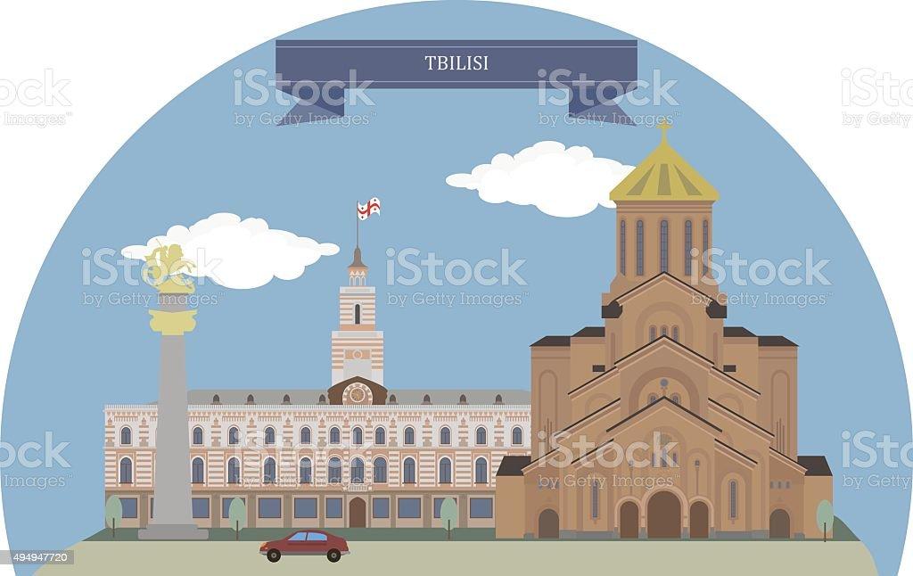 Tbilisi, Georgia vector art illustration