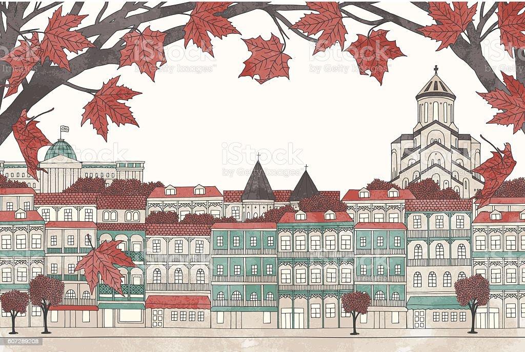 Tbilisi in autumn vector art illustration