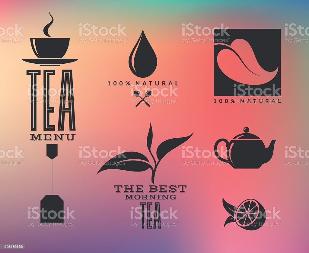 Tea. Abstract icons and labels on smooth background vector art illustration