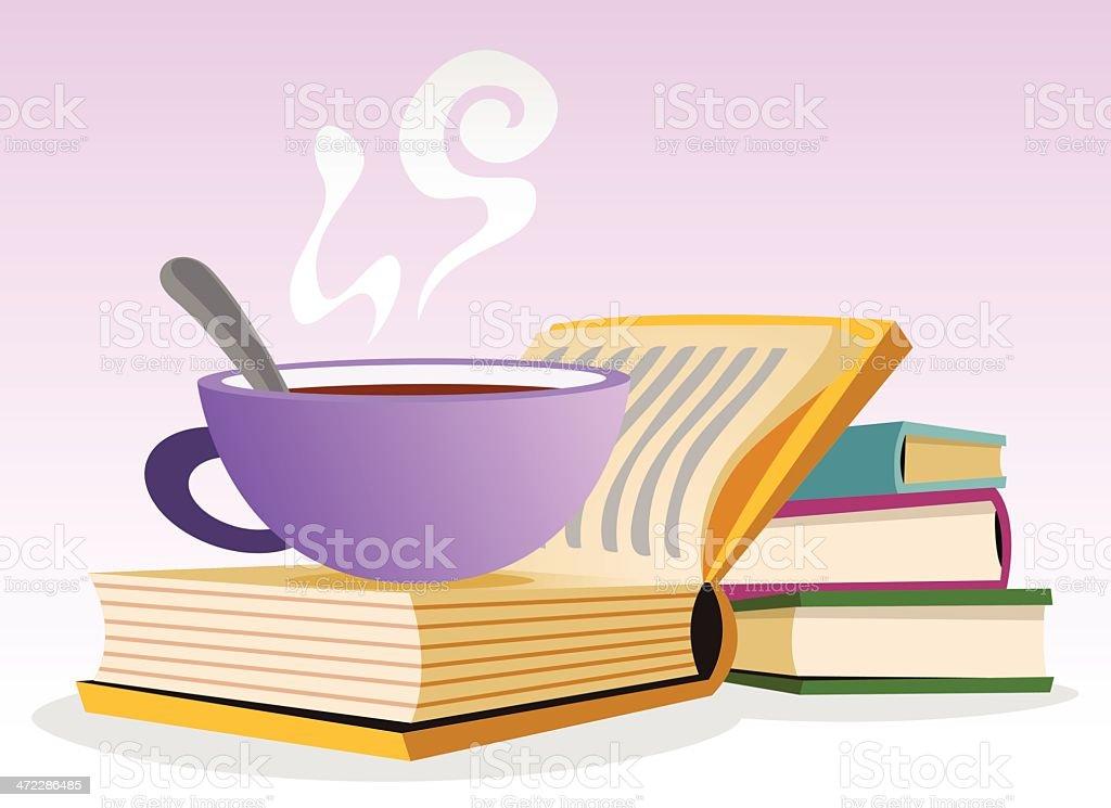 Tea and Books vector art illustration
