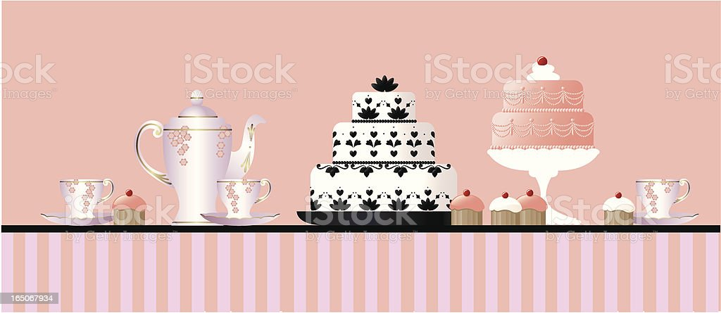 Tea and cakes vector art illustration