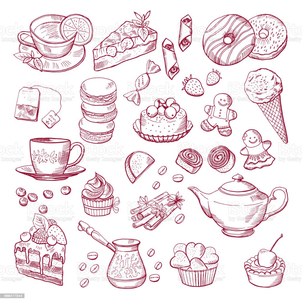 Tea and coffee different elements. Sweets, cupcakes. Hand drawn vector illustrations vector art illustration
