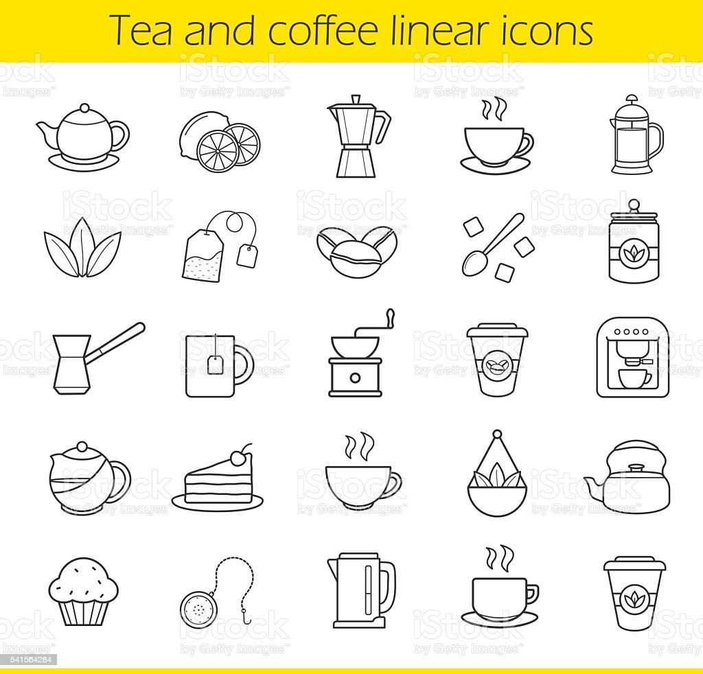Tea and coffee icons vector art illustration