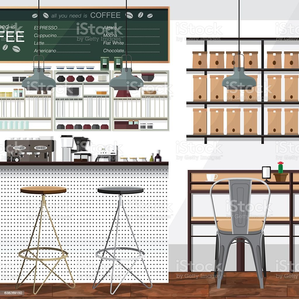 Tea and Coffee Shop Business vector art illustration