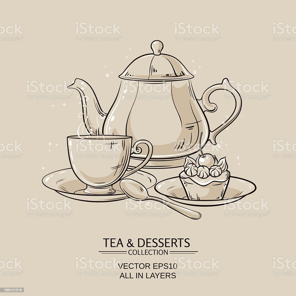tea and dessert vector art illustration