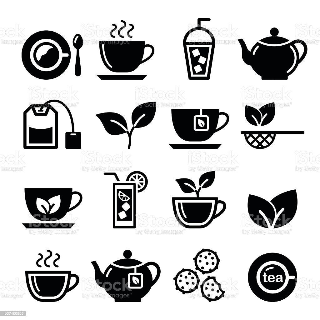 Tea and ice tea vector icons set vector art illustration