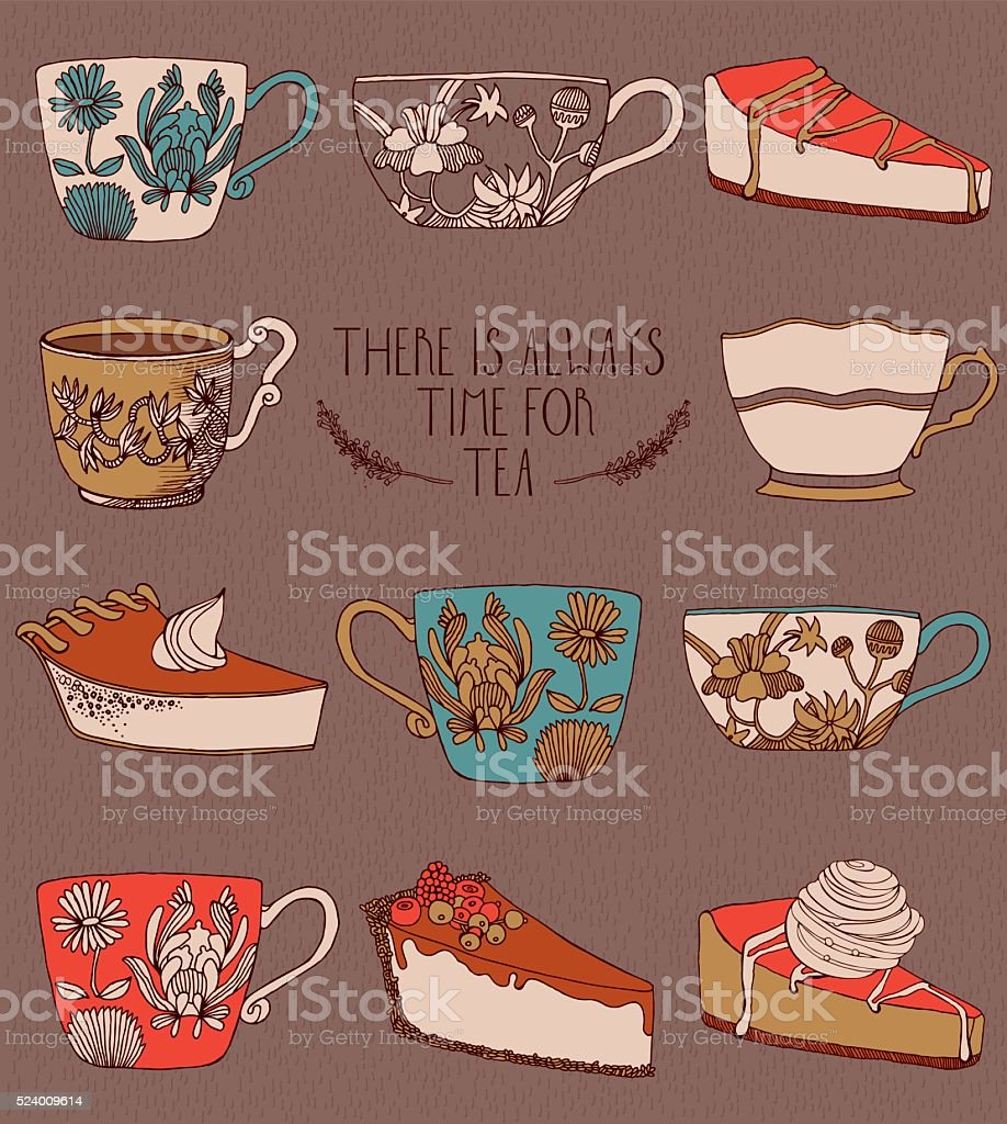 Tea and sweets in vector vector art illustration