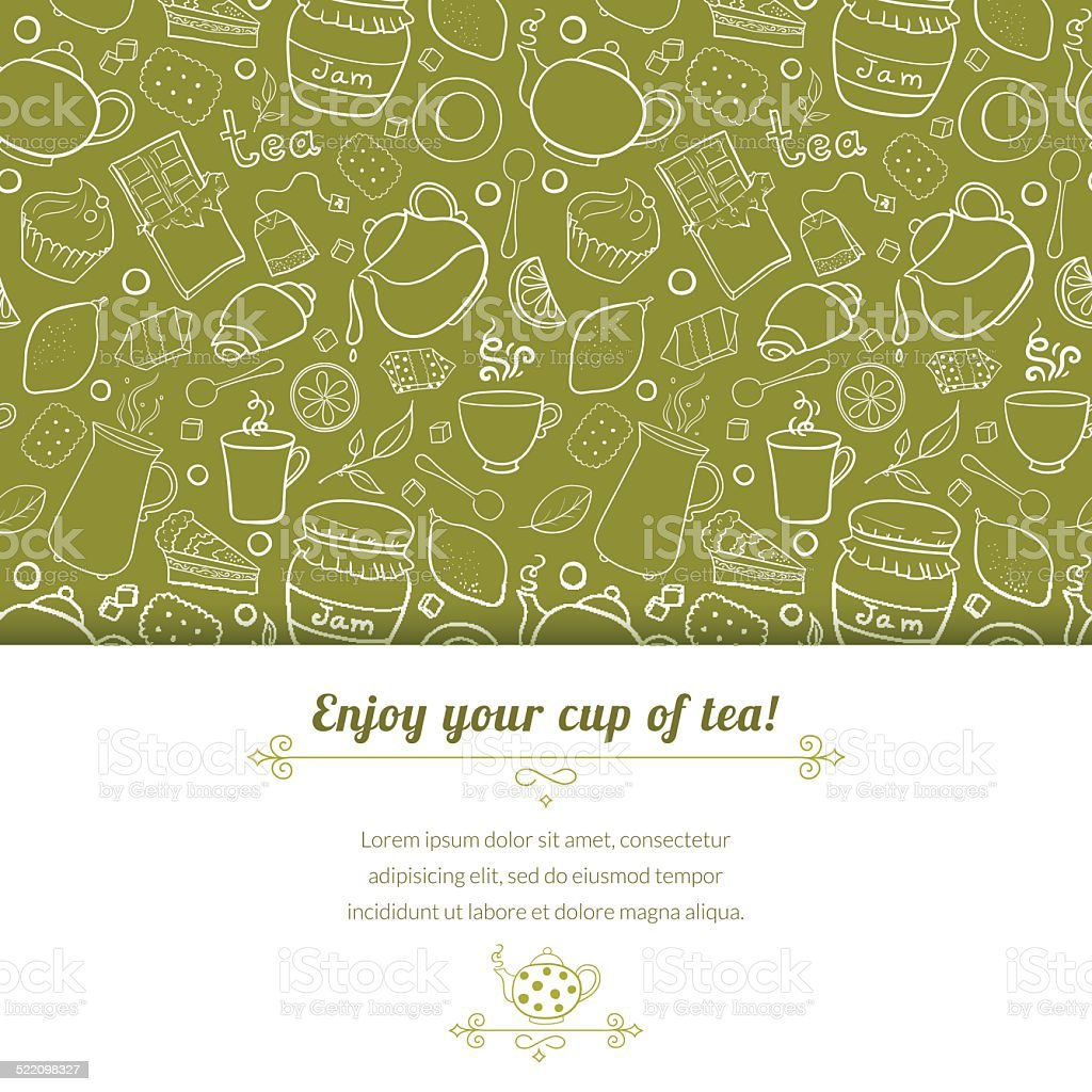 Tea and sweets vector background vector art illustration