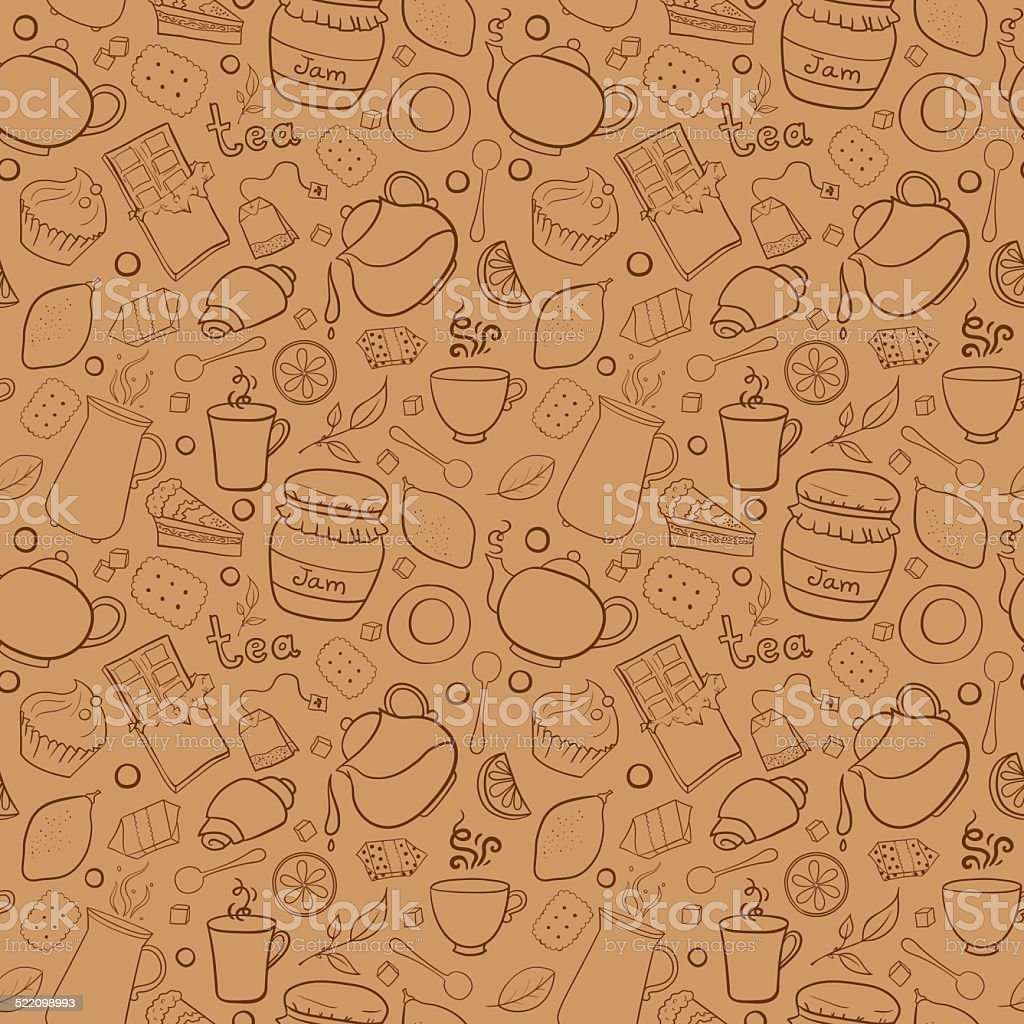 Tea and sweets vector seamless pattern vector art illustration