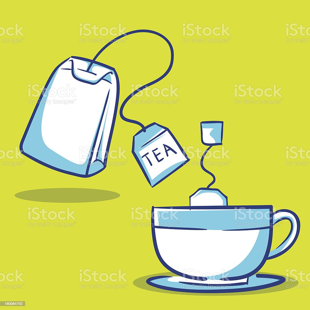 Tea bag and Tea cup Hand Drawing royalty-free stock vector art