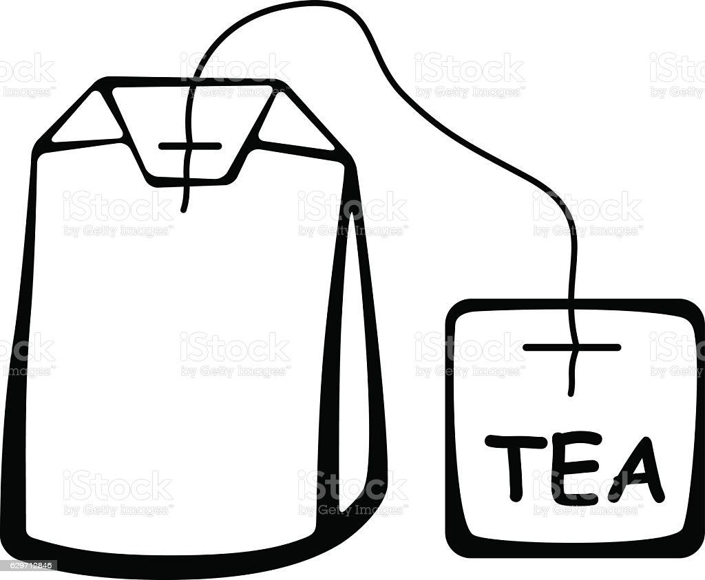 tea bag black pictogram vector art illustration