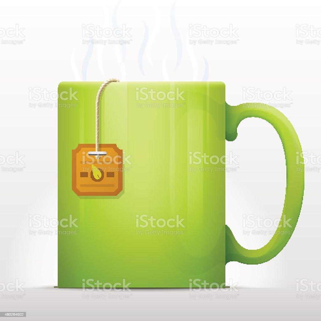Tea bag brewing in mug vector art illustration