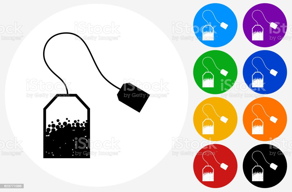 Tea bag Icon on Flat Color Circle Buttons vector art illustration