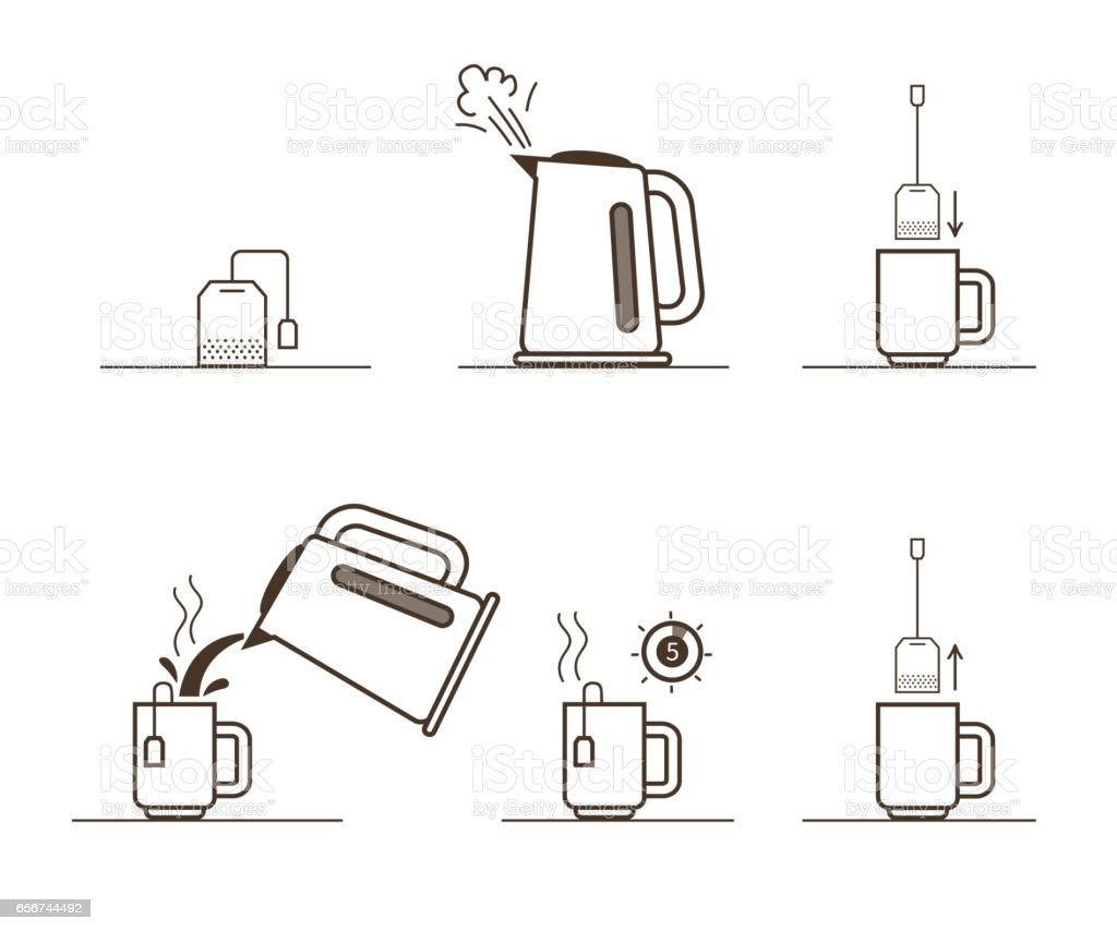 Tea brewing vector art illustration