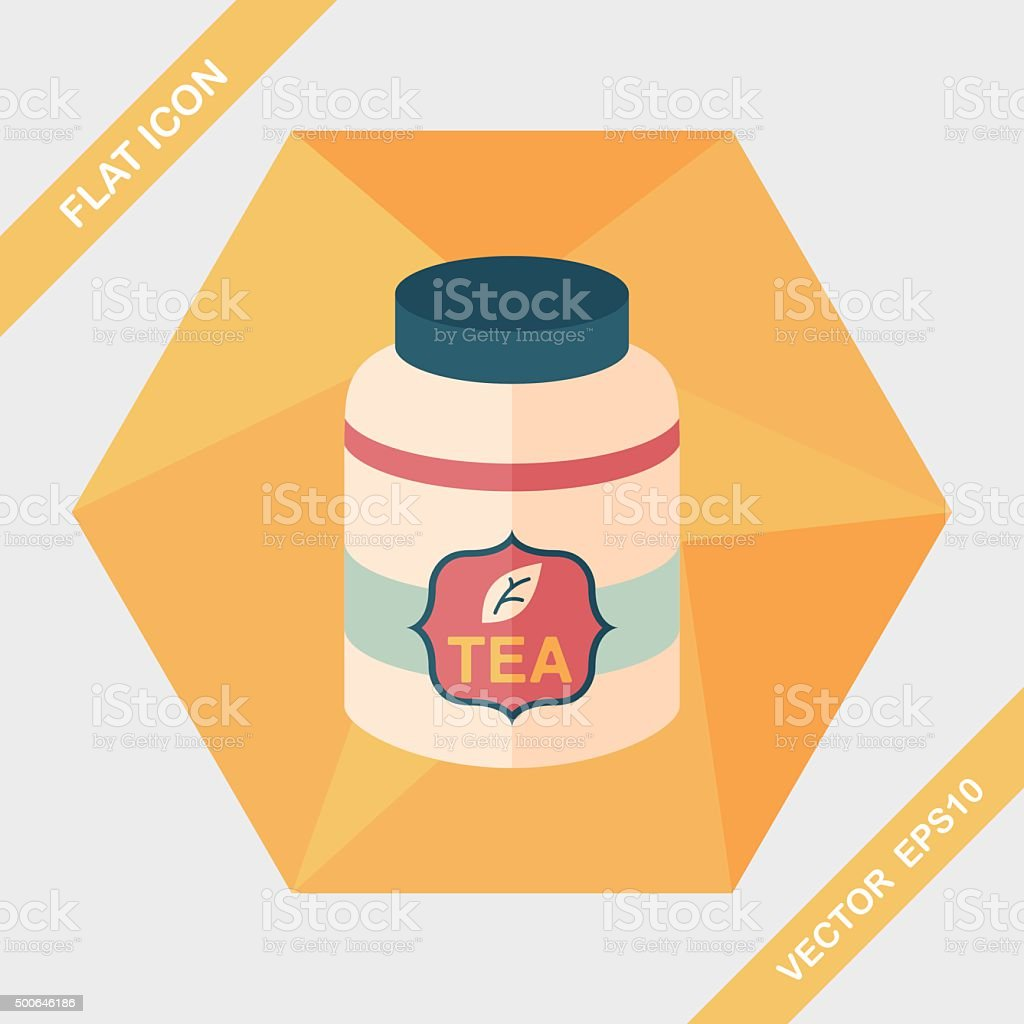 tea canister flat icon with long shadow,eps10 vector art illustration