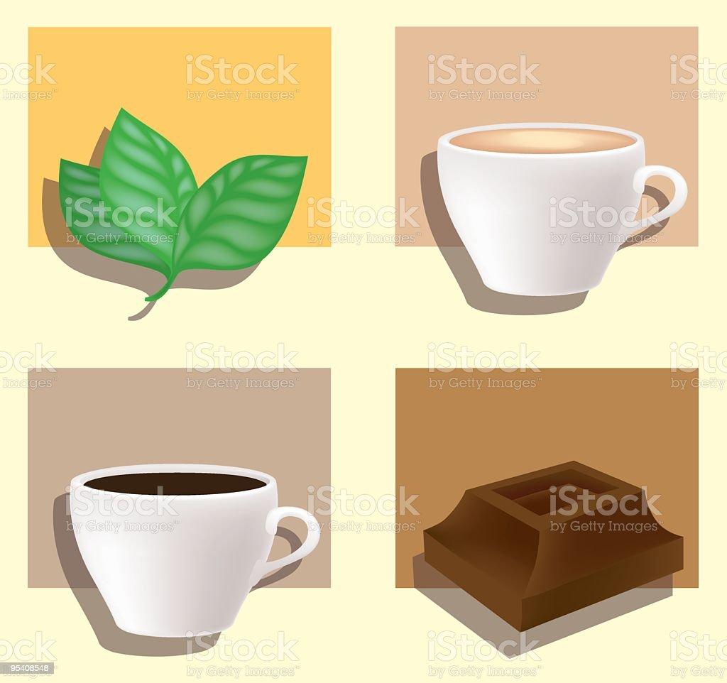 Tea, cappuccino, coffee, chocolate royalty-free stock vector art