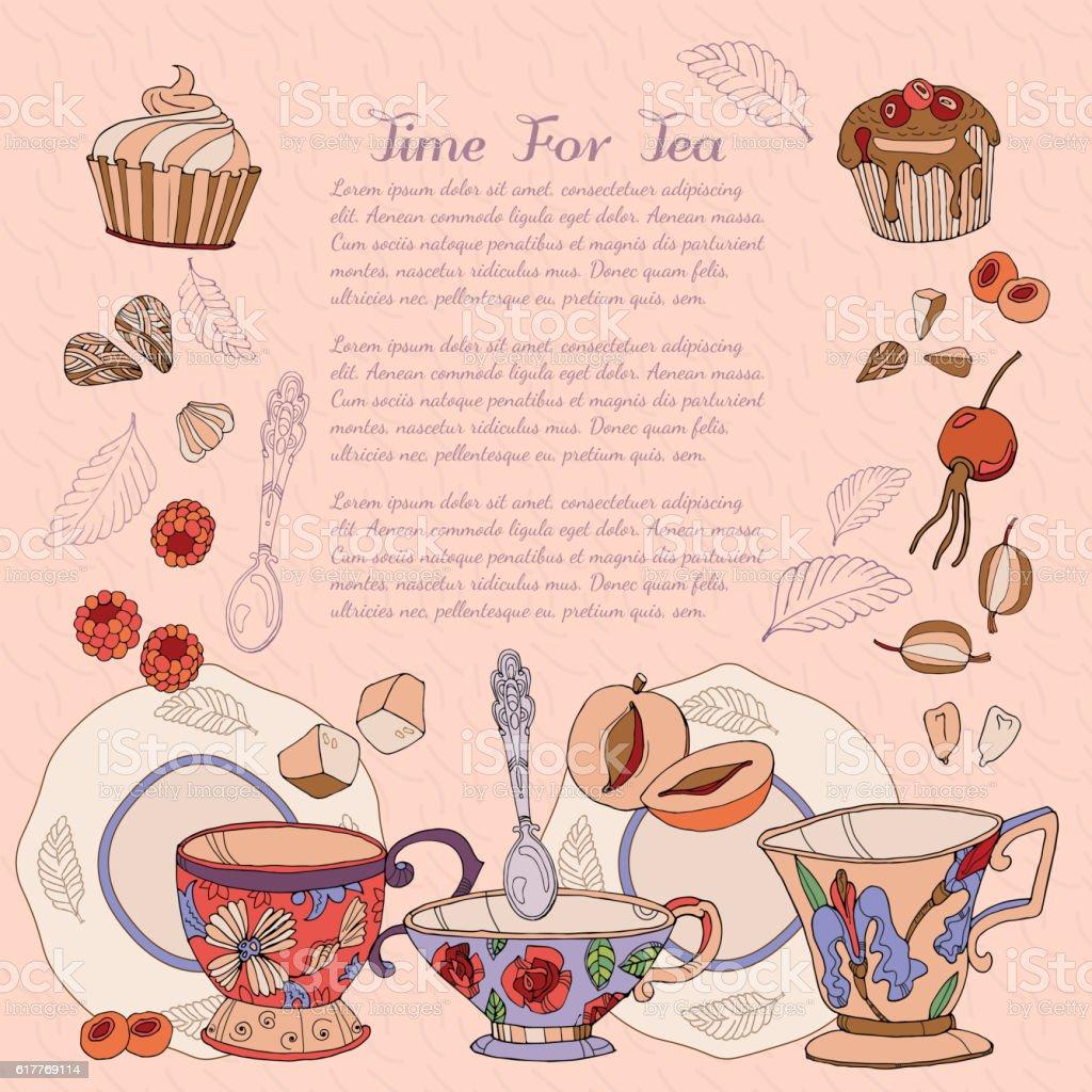 Tea card design template hand drawn vector vector art illustration