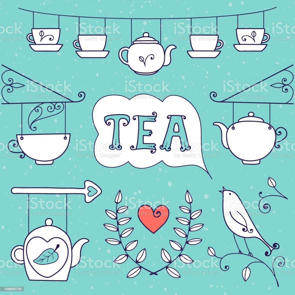 Tea card. Set of elements for design. vector art illustration