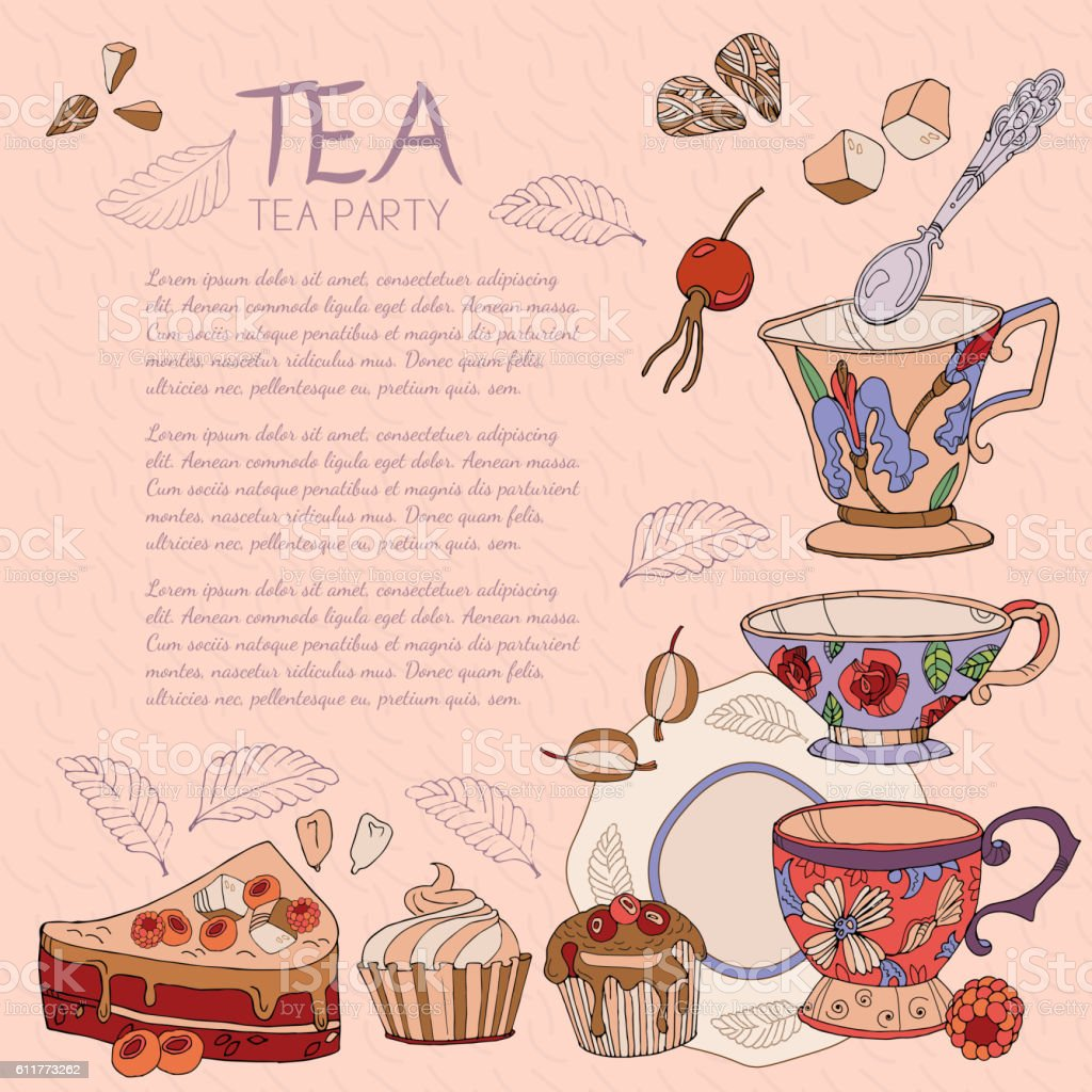 Tea card template for restaurant cafe vector art illustration