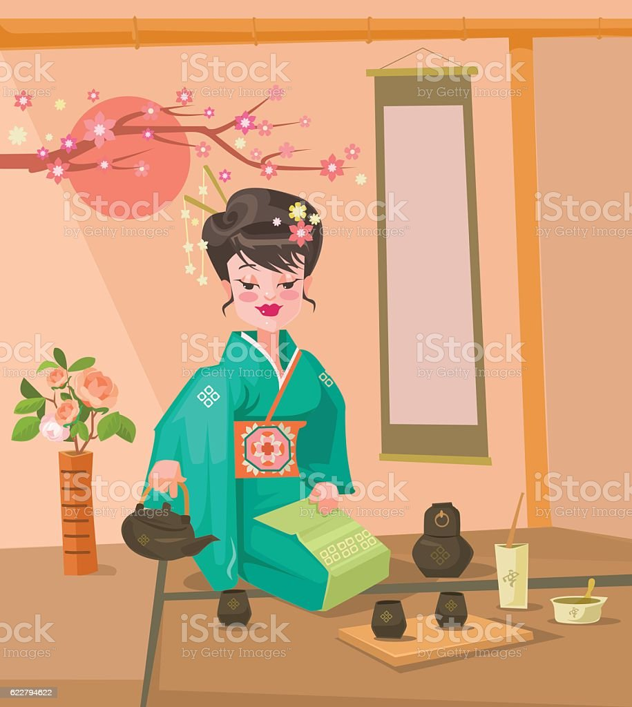 Tea ceremony. Japanese woman character preparing tea vector art illustration