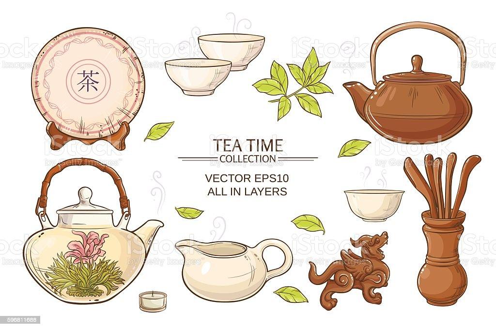 tea ceremony set vector art illustration