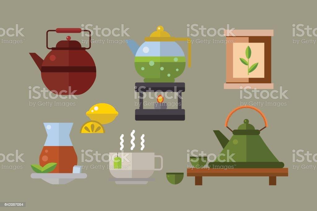 Tea ceremony traditional asian drink vector illustration vector art illustration