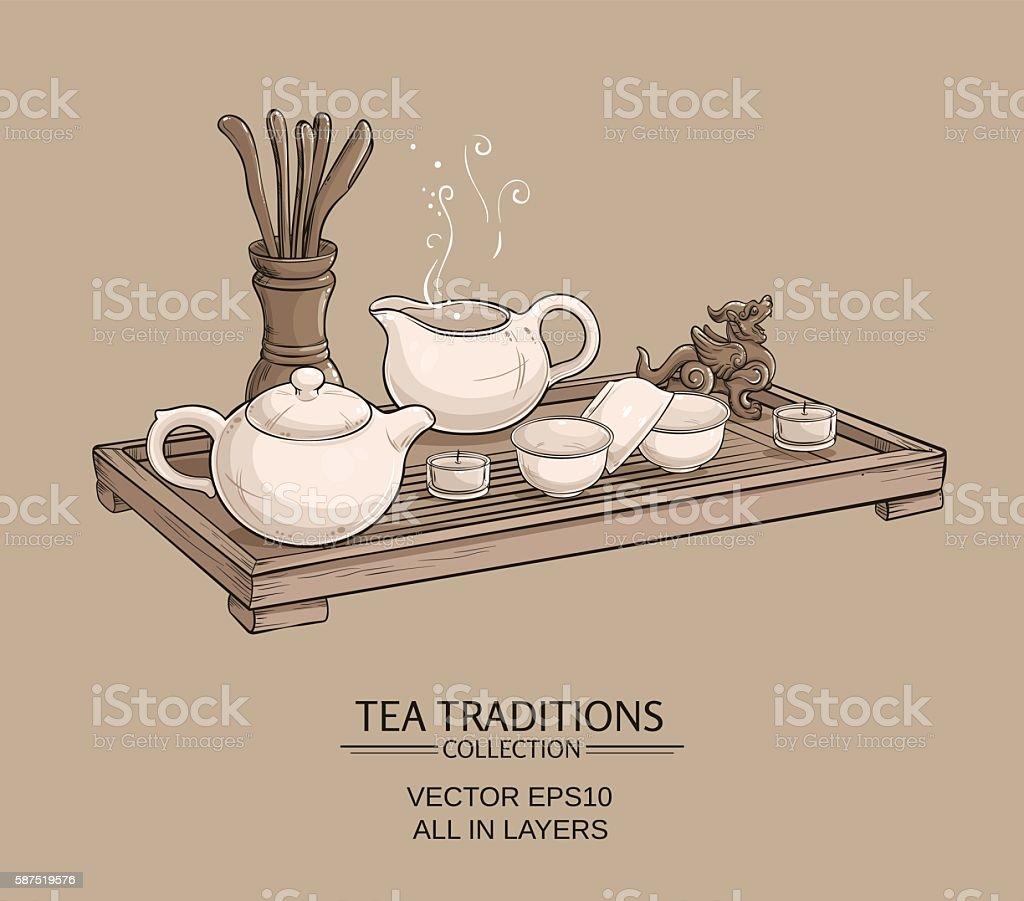 tea ceremony vector art illustration