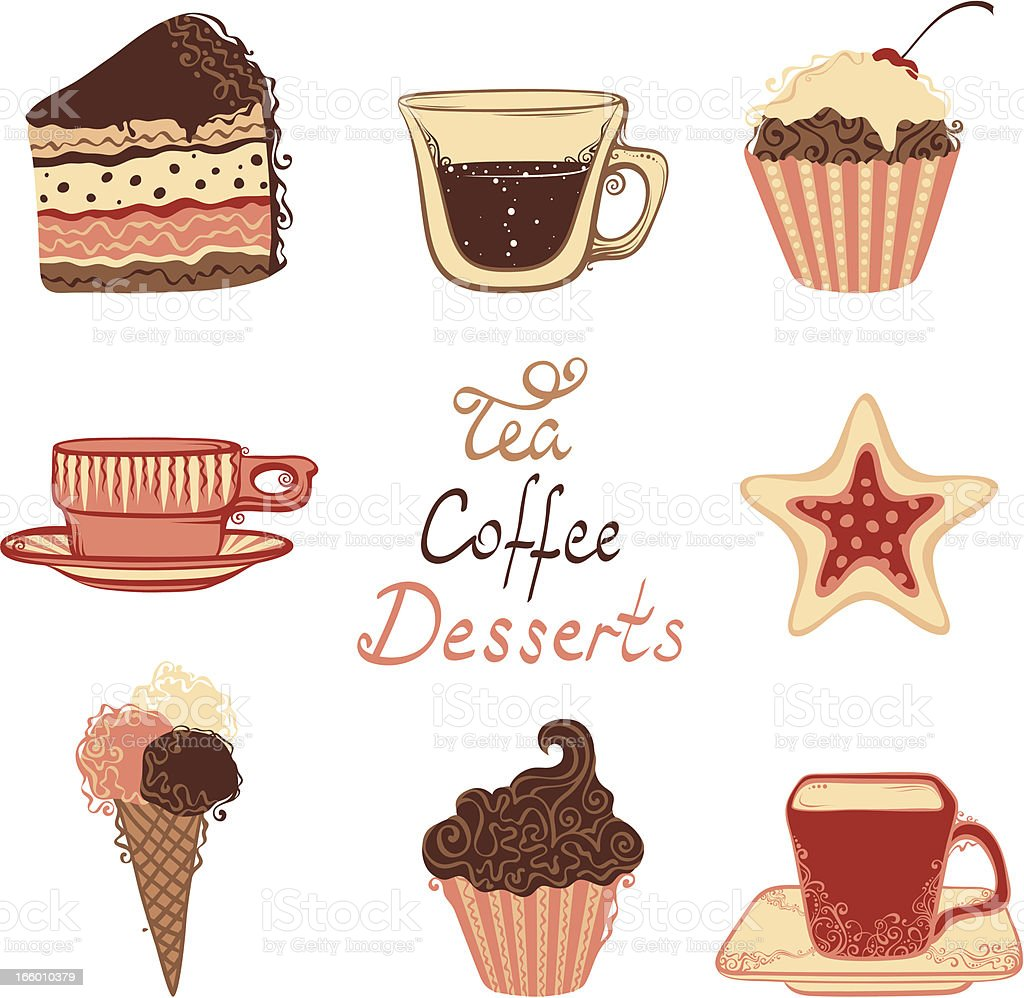 Tea, coffee and dessert icons vector art illustration