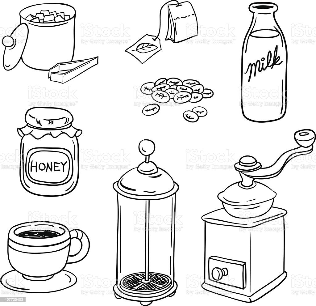 Tea Coffee equipment in black and white vector art illustration