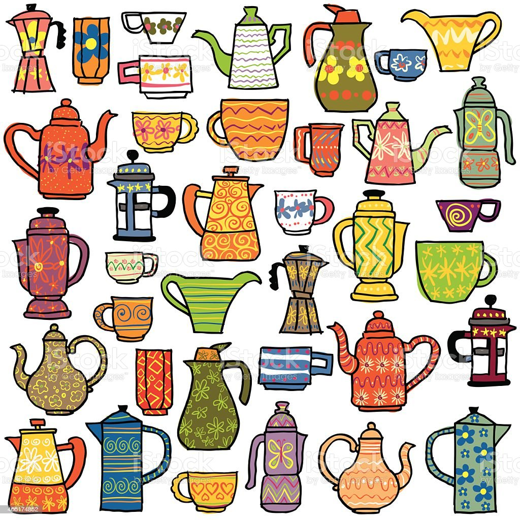 Tea Coffee Pot Fair vector art illustration