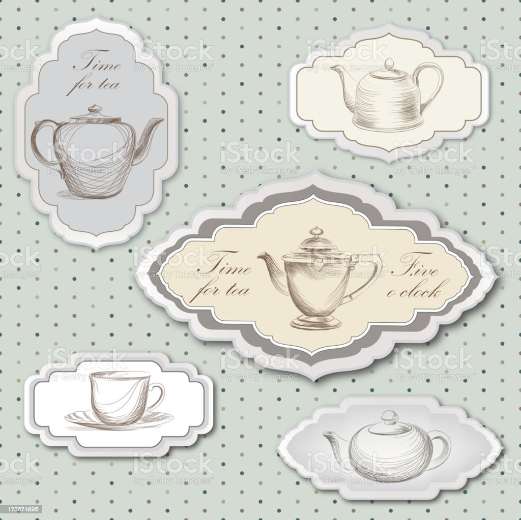 Tea cup and pot label vector set in vintage style. vector art illustration